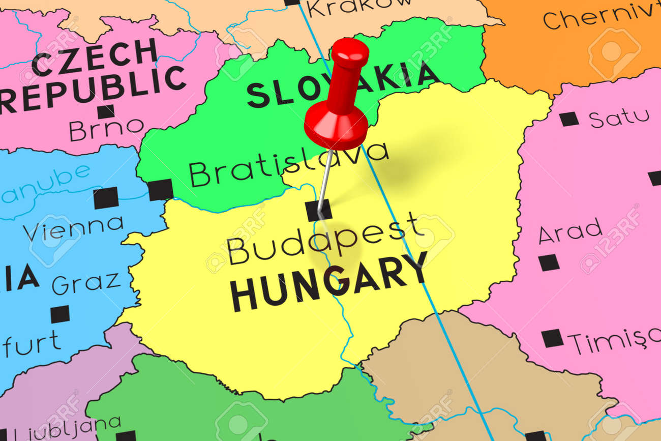 budapest on a map Hungary Budapest Capital City Pinned On Political Map Stock budapest on a map