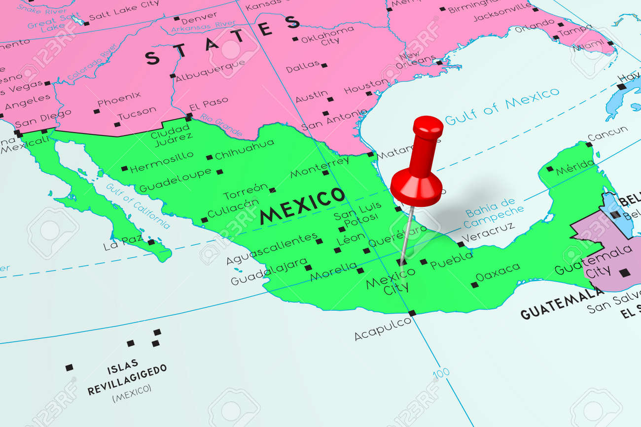 Mexico, Mexico City - capital city, pinned on political map