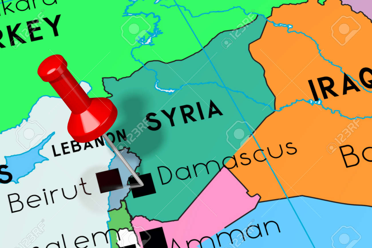 Syria, Damascus - capital city, pinned on political map on libya map, umayyad mosque, medina map, sanaa map, amman map, constantinople map, asma al-assad, belgrade map, bashar al-assad, jordan map, aleppo map, ankara map, sinai peninsula map, syria map, euphrates river map, canaan map, muscat map, tyre map, beirut on a map, mecca map, jerusalem map, iraq map, persia map,