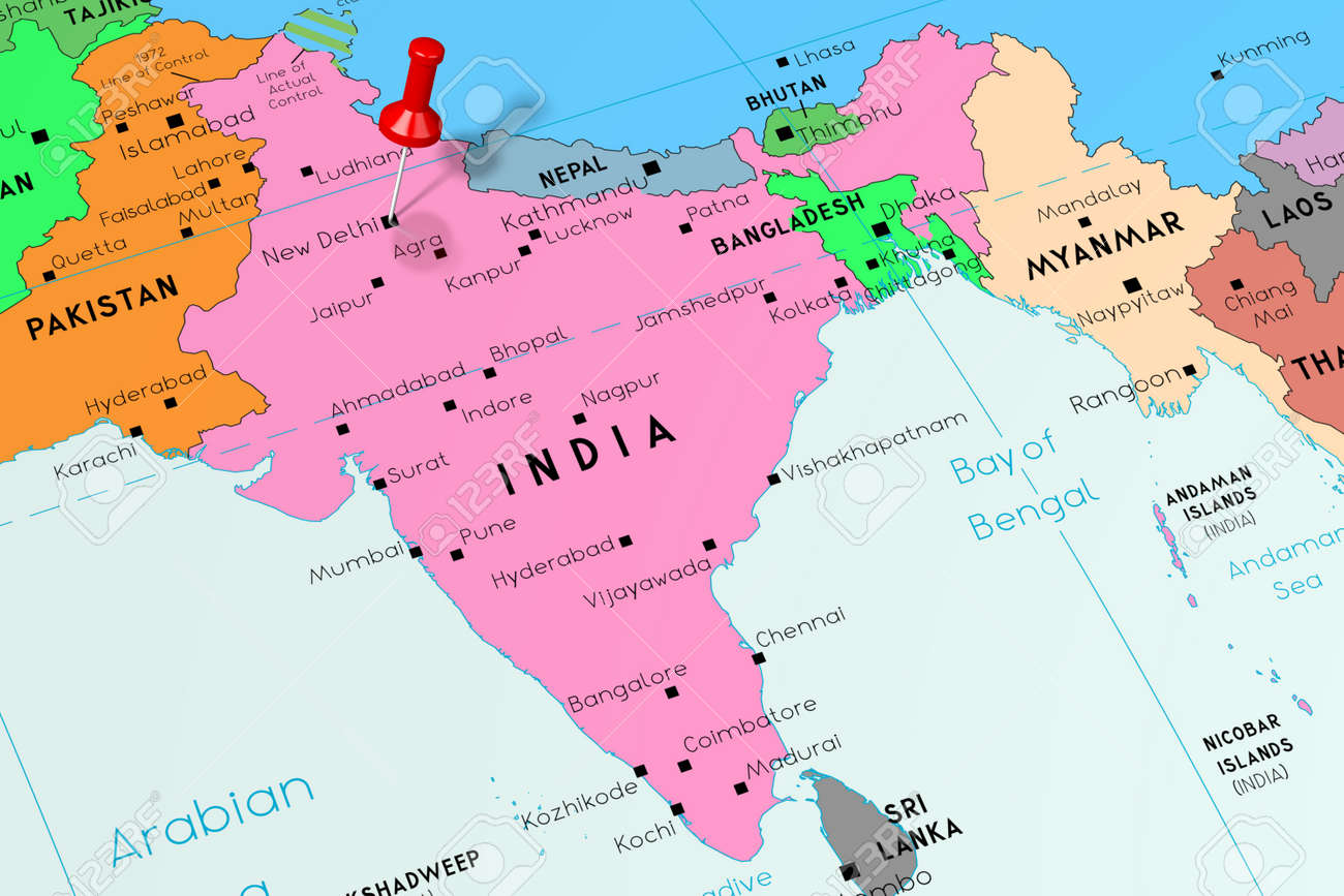 India, New Delhi - capital city, pinned on political map