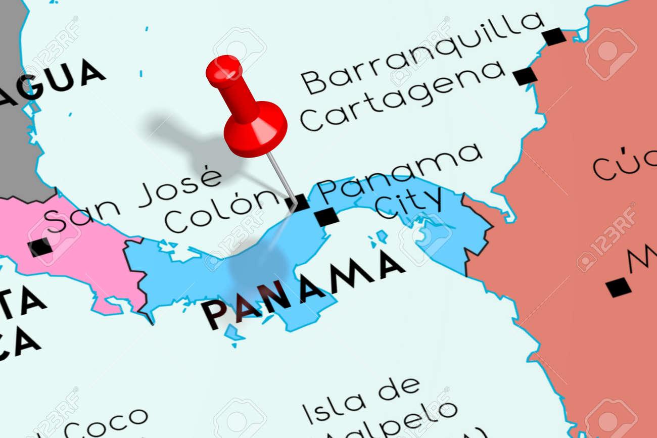 Panama, Panama City - capital city, pinned on political map