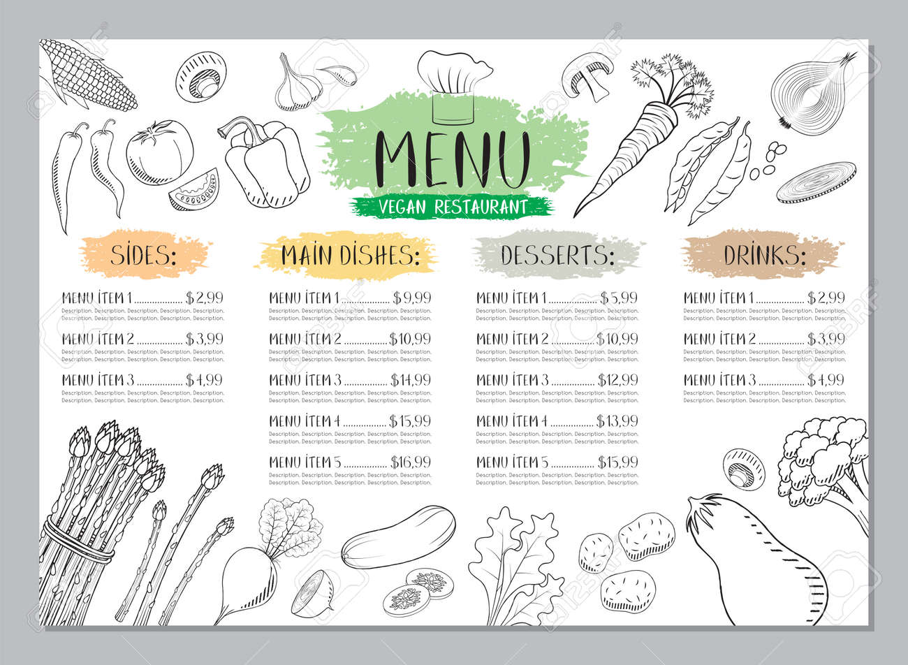 Vegan restaurant menu template - A4 card (vegetables drawings) - 129571127