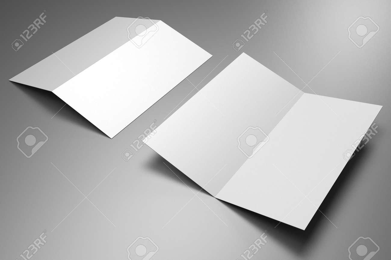 Leaflet/ brochure/ invitation mockup (2 x DL, 2 x 99x210 mm) - 3D rendering - 134544464