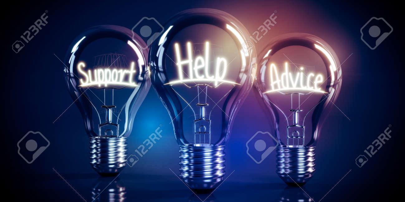 Support, help, advice concept - shining light bulbs - 3D illustration - 172005483