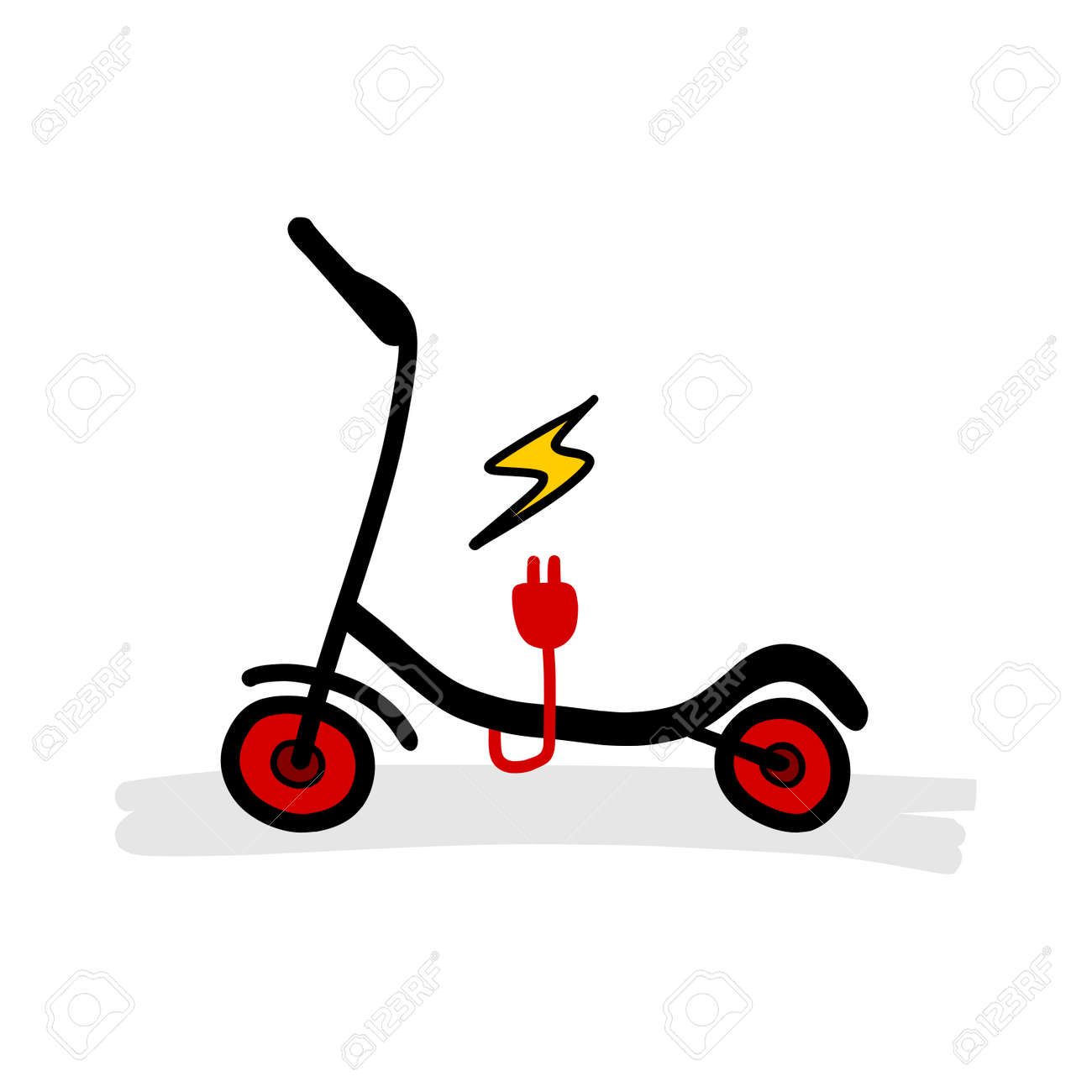 Red And Black Eco Electric Scooter Cartoon Illustration Hand Royalty Free Cliparts Vectors And Stock Illustration Image 150540584
