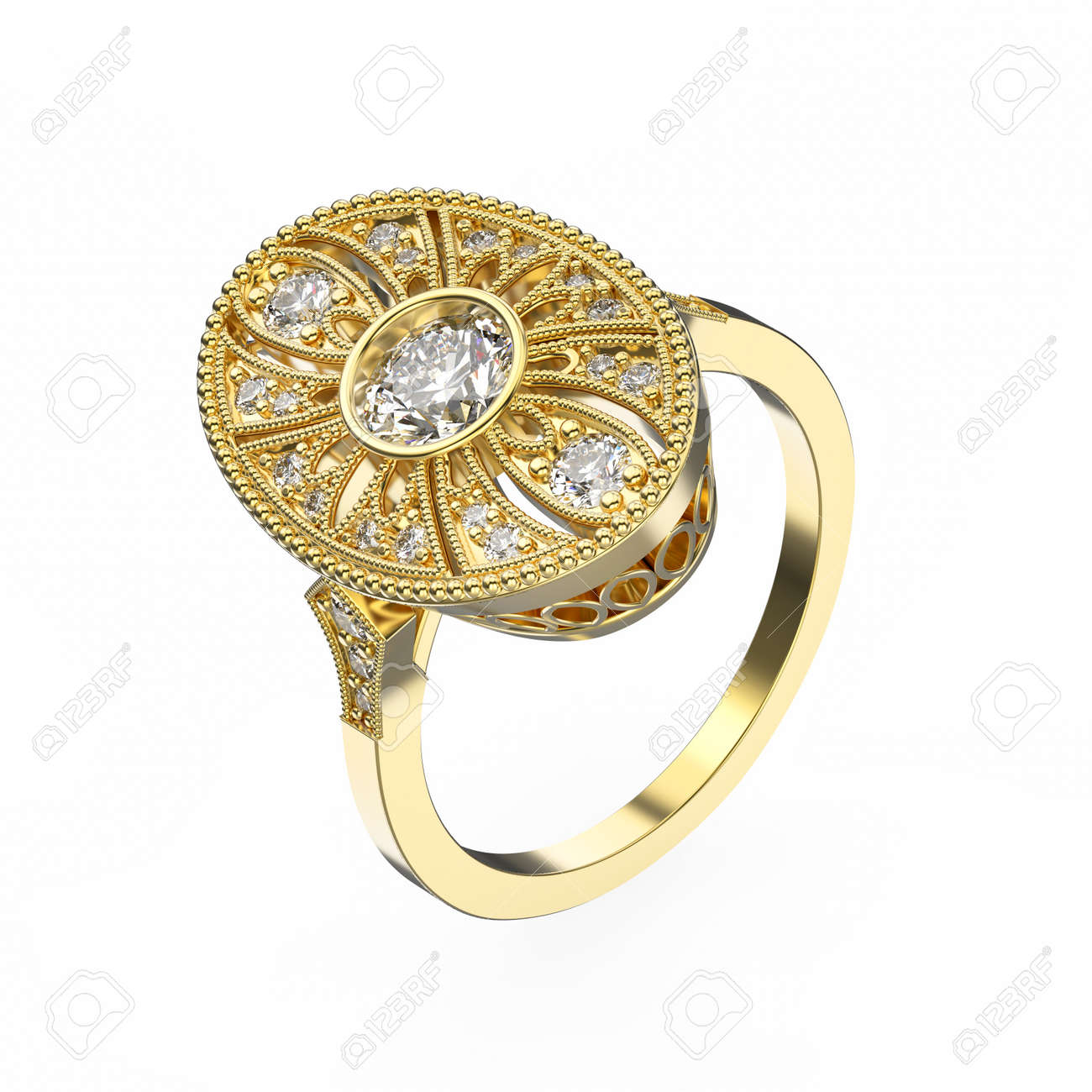 3D Illustration Rose Gold Ethnic Ring With Diamonds And Ornament