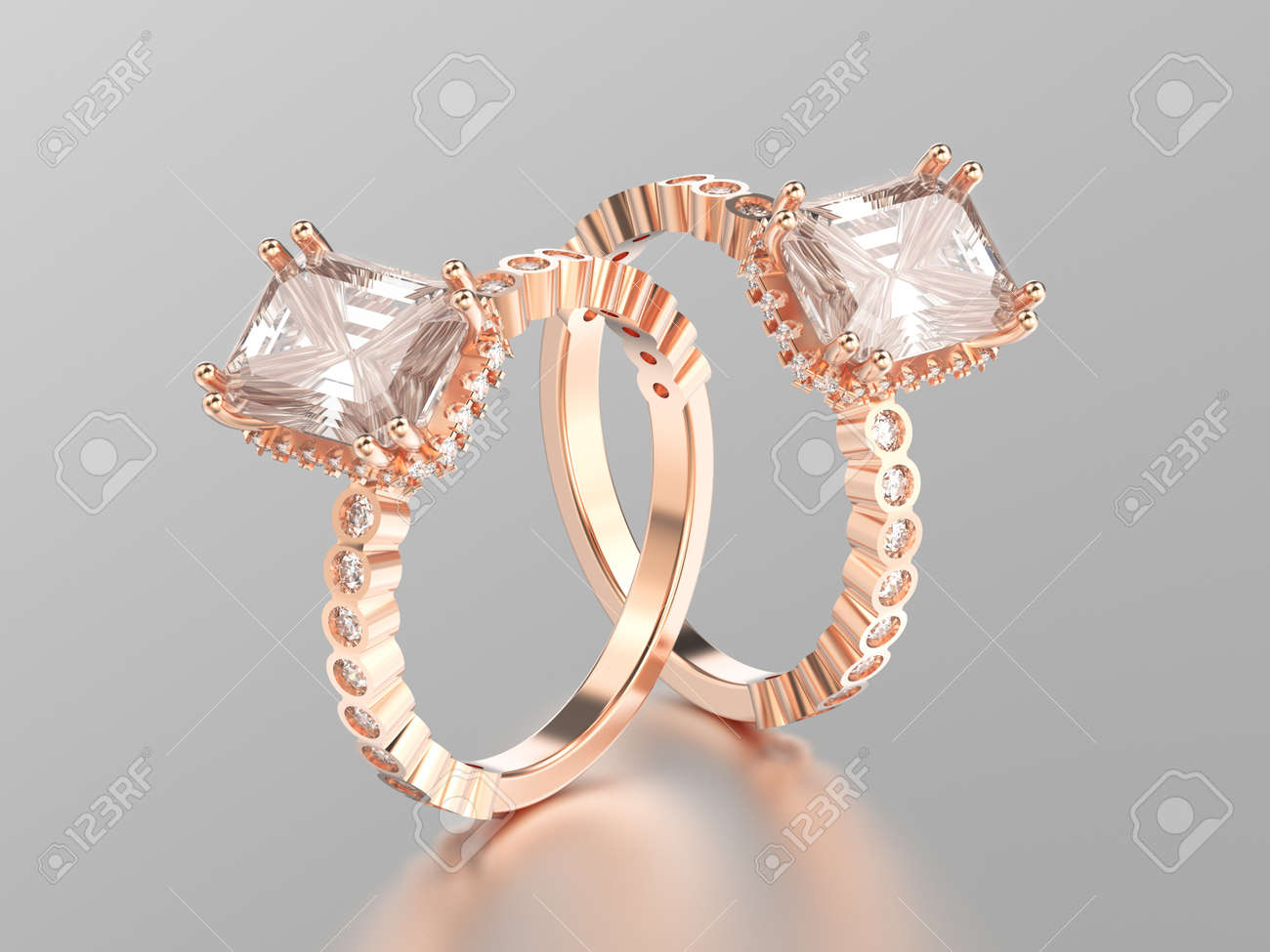 3D Illustration Two Rose Gold Diamonds Decorative Rings With Stock