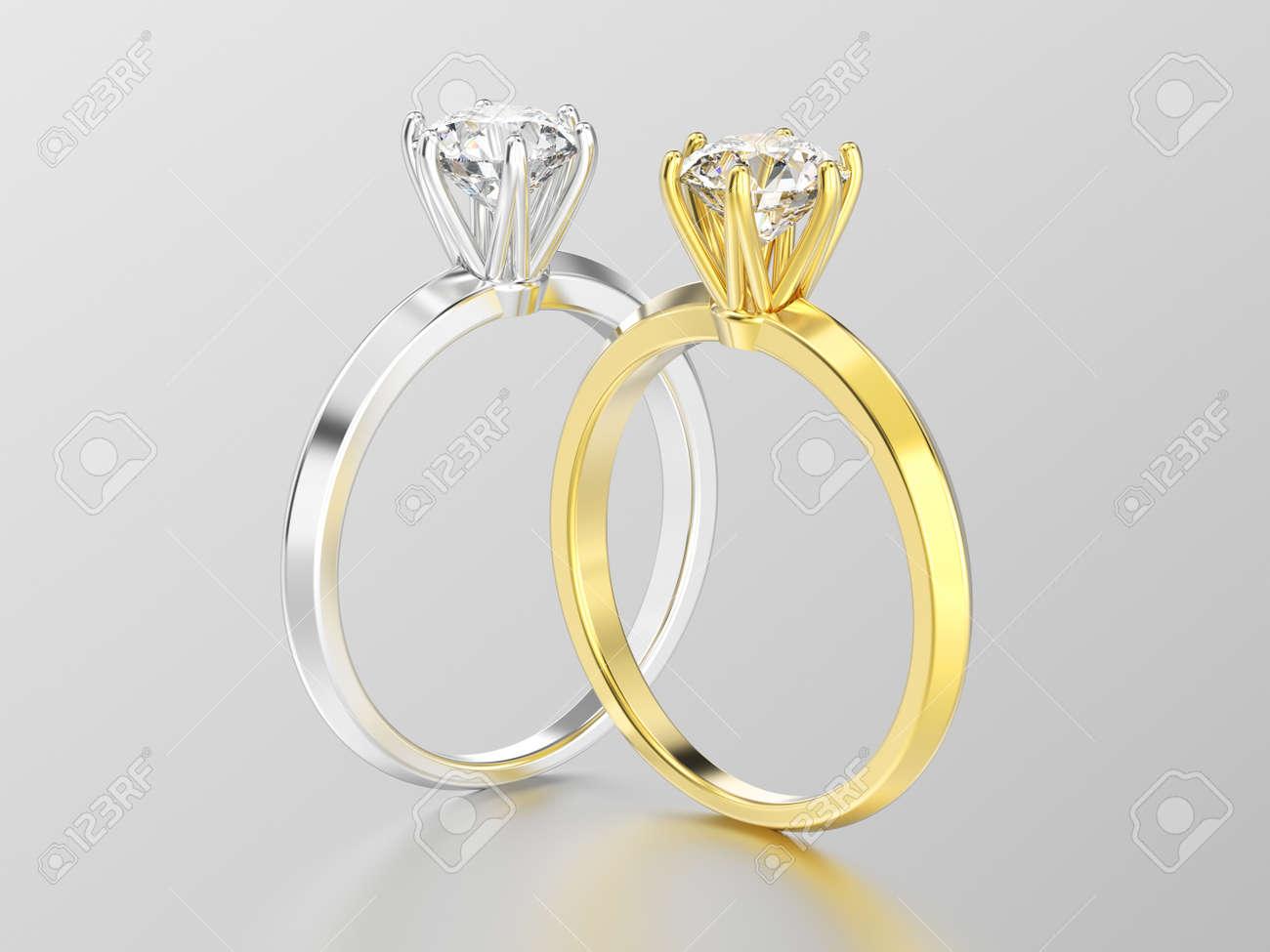 7f46b57d2cdf Foto de archivo - Ilustración 3D dos oro blanco o plata y oro amarillo  anillos de diamantes de compromiso de solitario tradicional con la  reflexión sobre un ...
