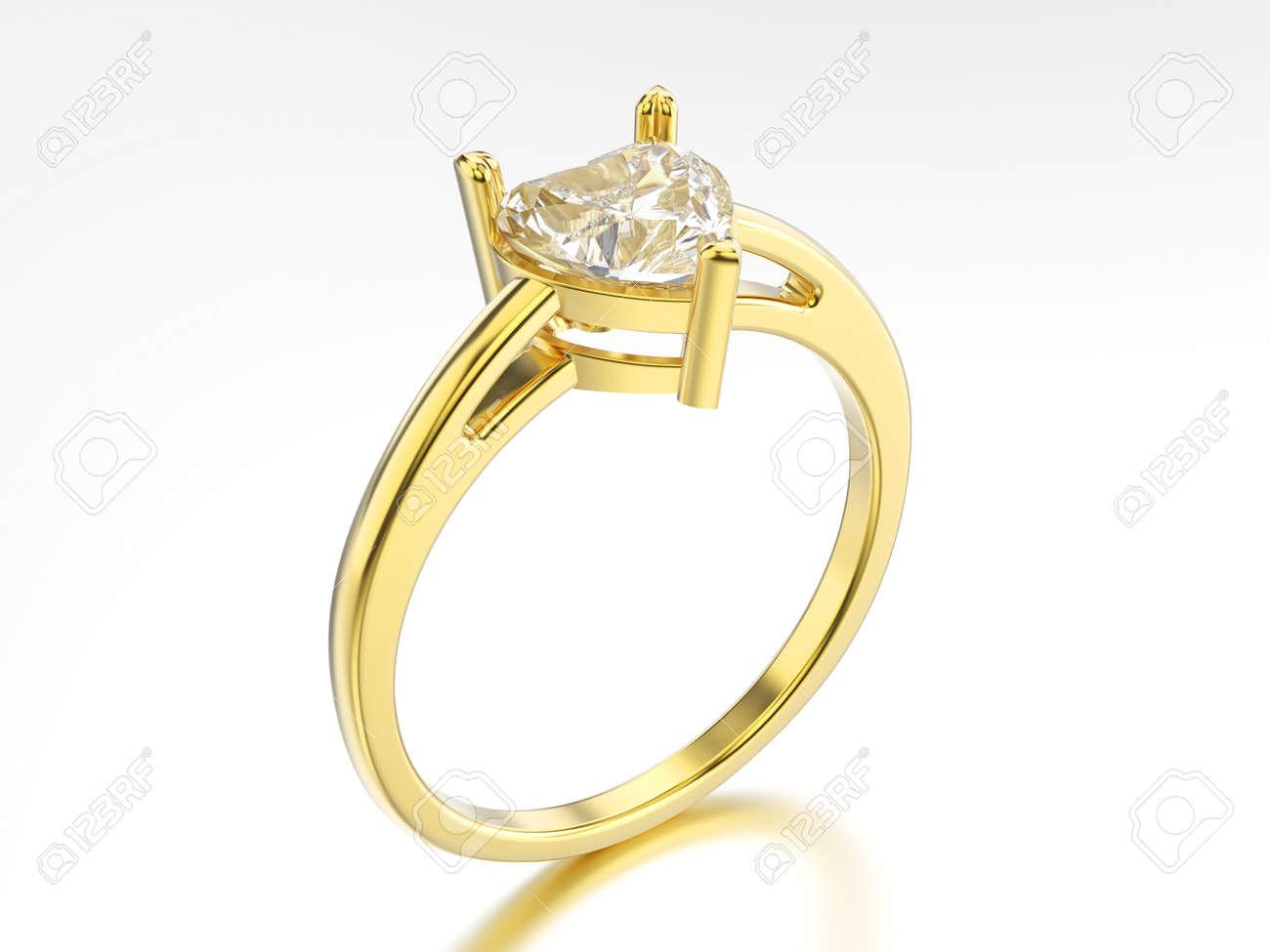 3 D イラスト分離された黄色の金の婚約指輪ダイヤモンド ハート白い背景