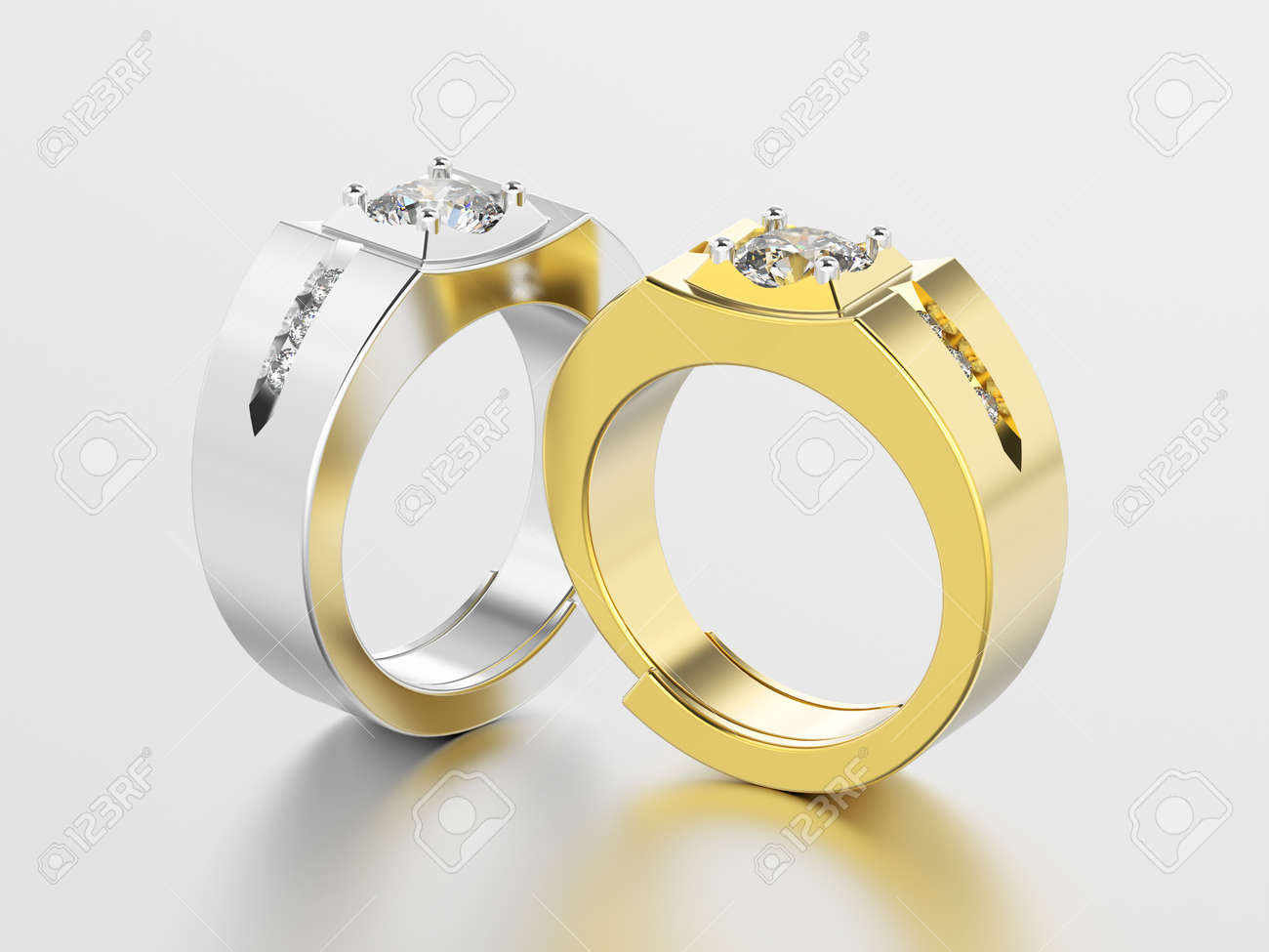 3d Illustration Two White Gold Or Silver And Yellow Gold Men Stock