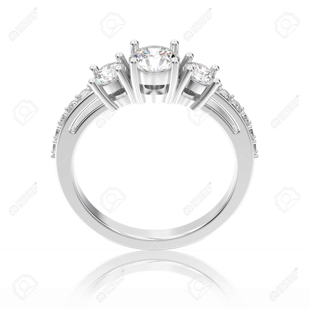 d68627628a25 Foto de archivo - Ilustración 3D de oro blanco o plata compromiso  decorativo tres piedras anillo de diamantes con la reflexión sobre un fondo  blanco