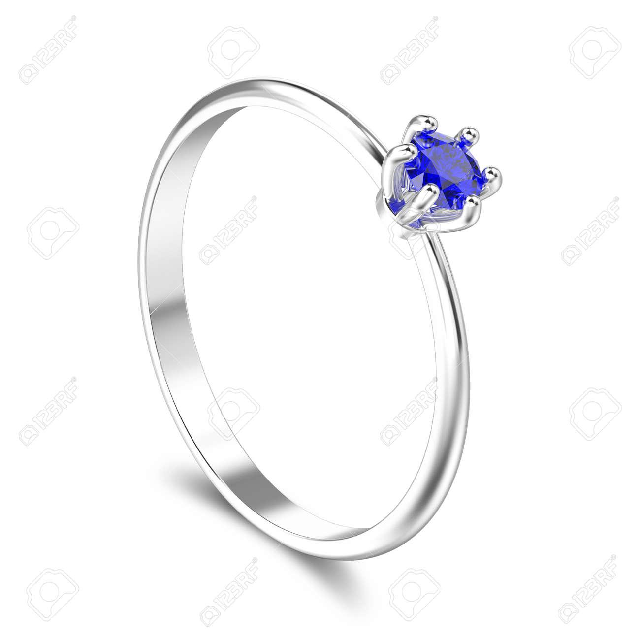 b41bce00d2f6 Foto de archivo - Ilustración 3D aislado oro blanco o plata tradicional  anillo de compromiso de compromiso solitario con zafiro azul con sombra  sobre un ...
