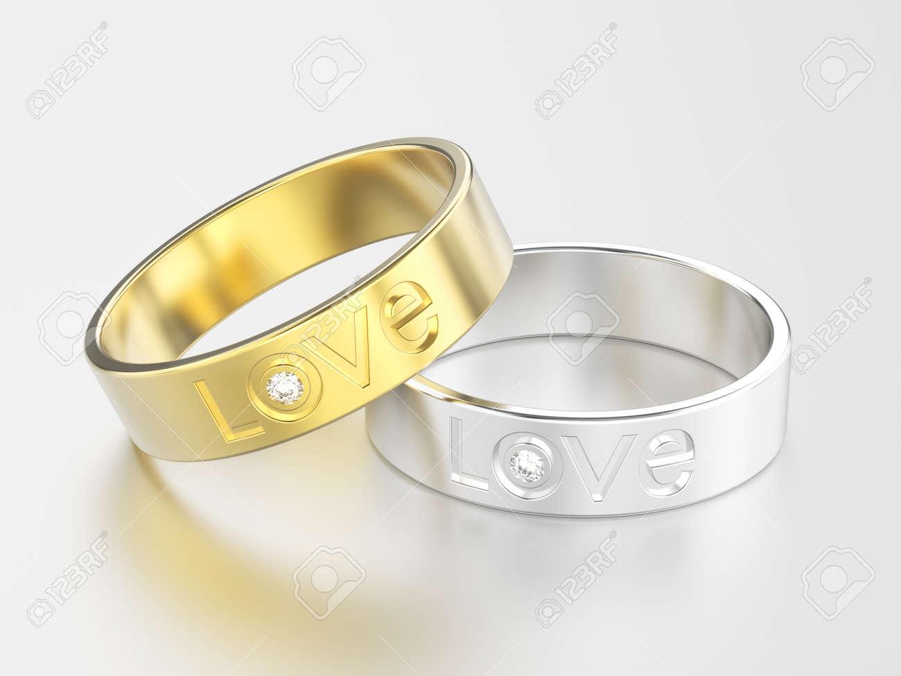 641cdbf290a9 Foto de archivo - Ilustración 3D dos oro blanco o plata y oro amarillo  anillo de compromiso con diamante y palabra de amor con reflexión