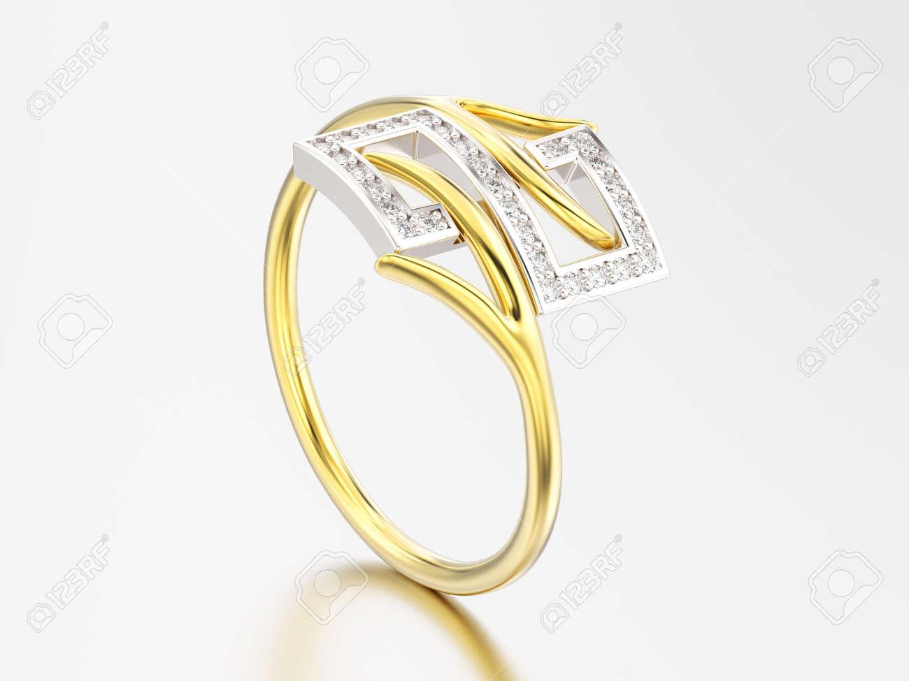 bague or jaune et blanc avec diamant