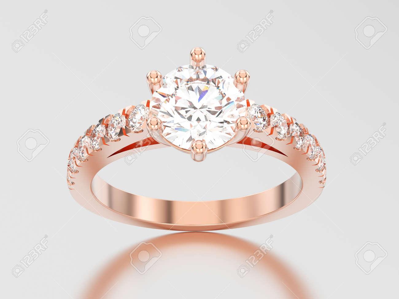 4f2b4a72e592 Anillo de diamante del compromiso del solitario del oro color de rosa de la  ilustración 3D