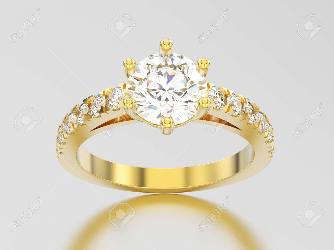 95ab23f4baf5 Anillo de diamante de compromiso de oro amarillo de ilustración 3D con  sombra y reflexión sobre