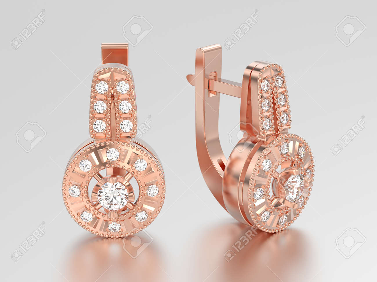 3D Illustration Rose Gold Decorative Diamond Earrings With Hinged