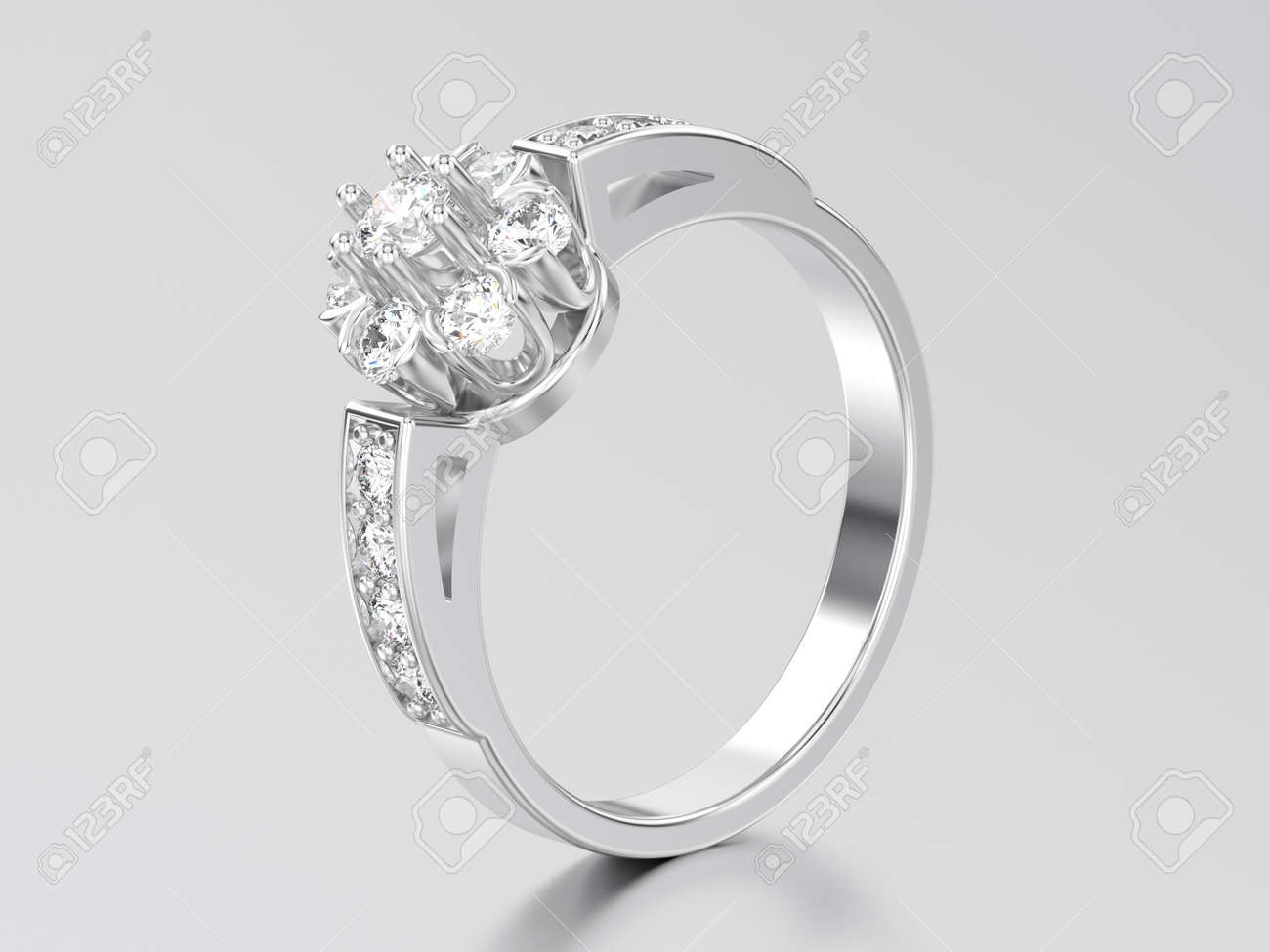 3d Illustration White Gold Or Silver Decorative Flower Diamond