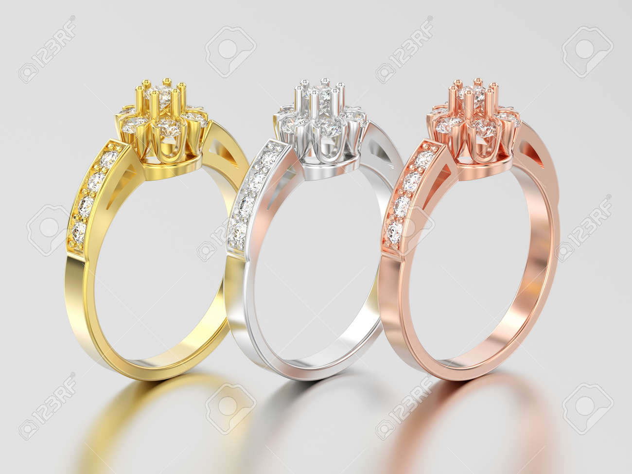 3d Illustration Three Yellow Rose And White Gold Or Silver