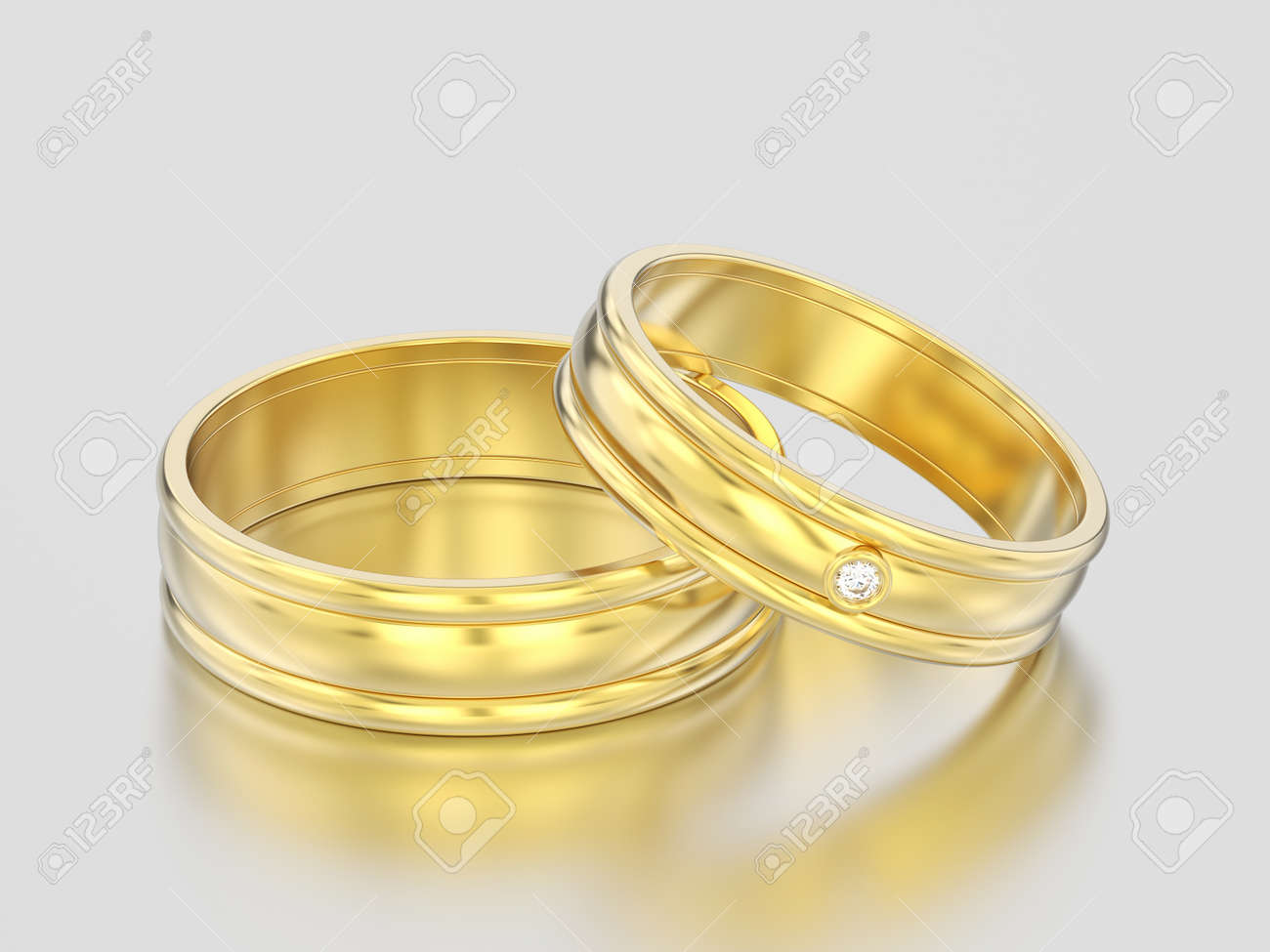 d35a658772 3D illustration two yellow gold matching couples wedding diamond rings  bands on a gray background Stock