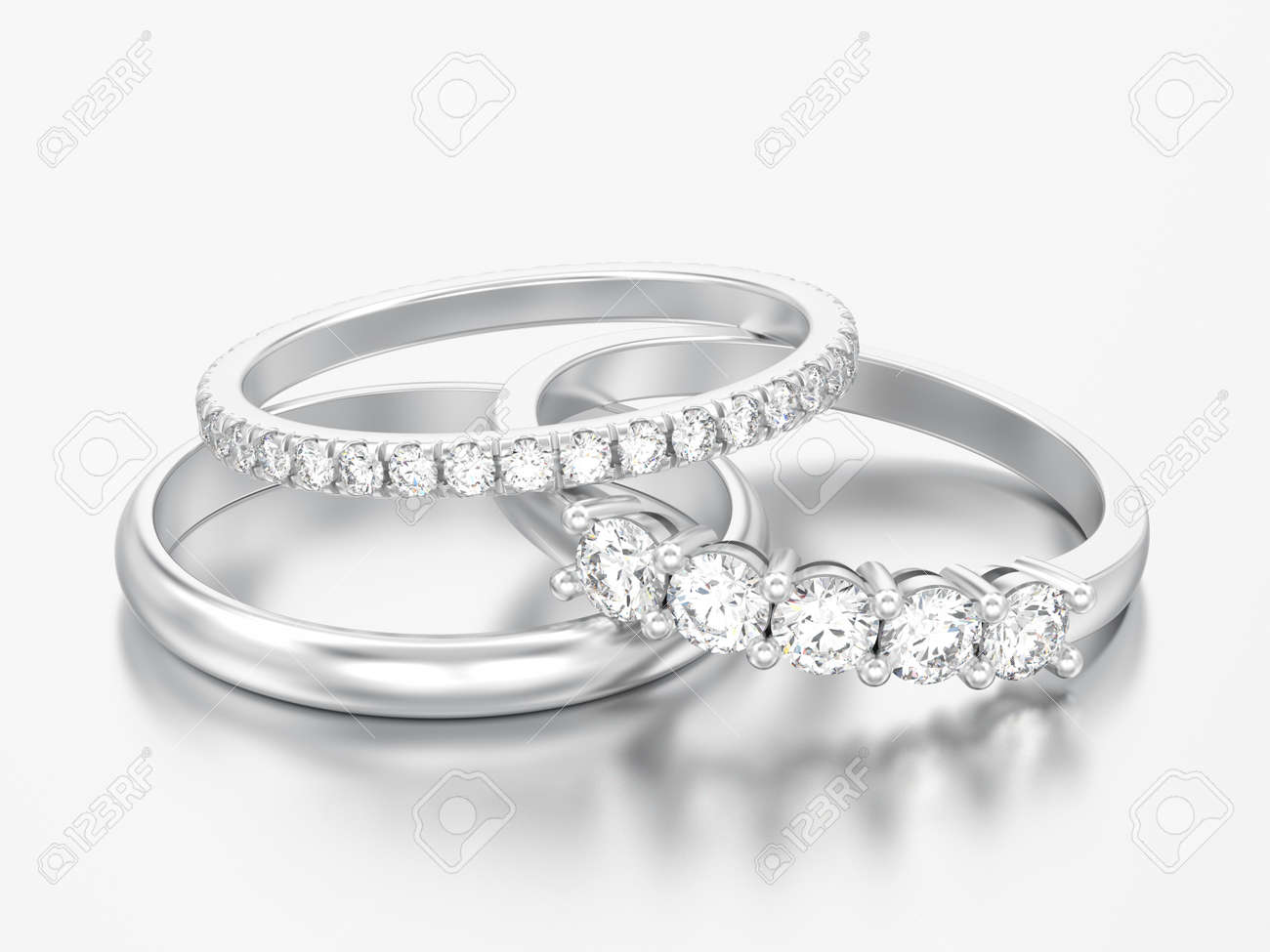 3D illustration three different white gold or silver diamonds rings on a grey background - 103573253