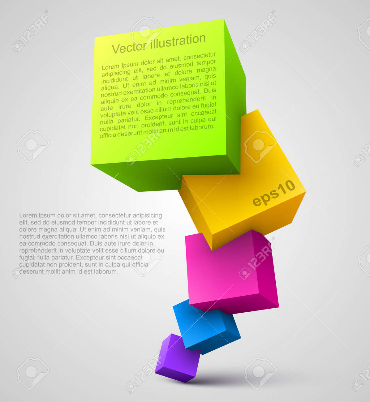 Colorful cubes 3D Stock Vector - 14603752