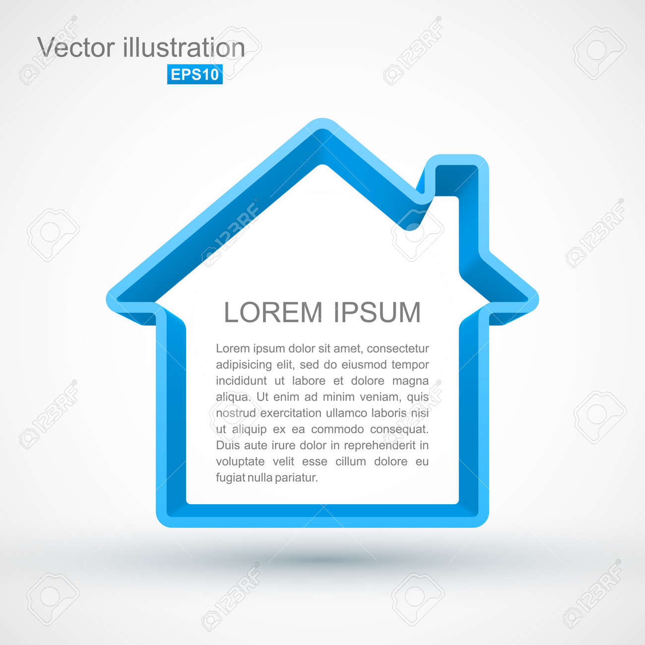 Blue house outline Stock Vector - 18649765