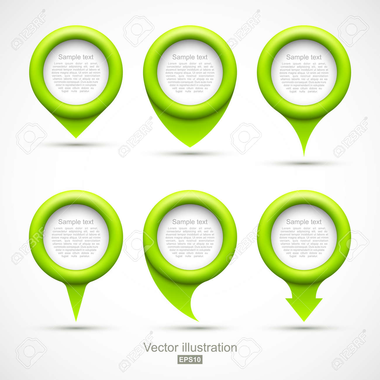 Set of green circle pointers Stock Vector - 19244846