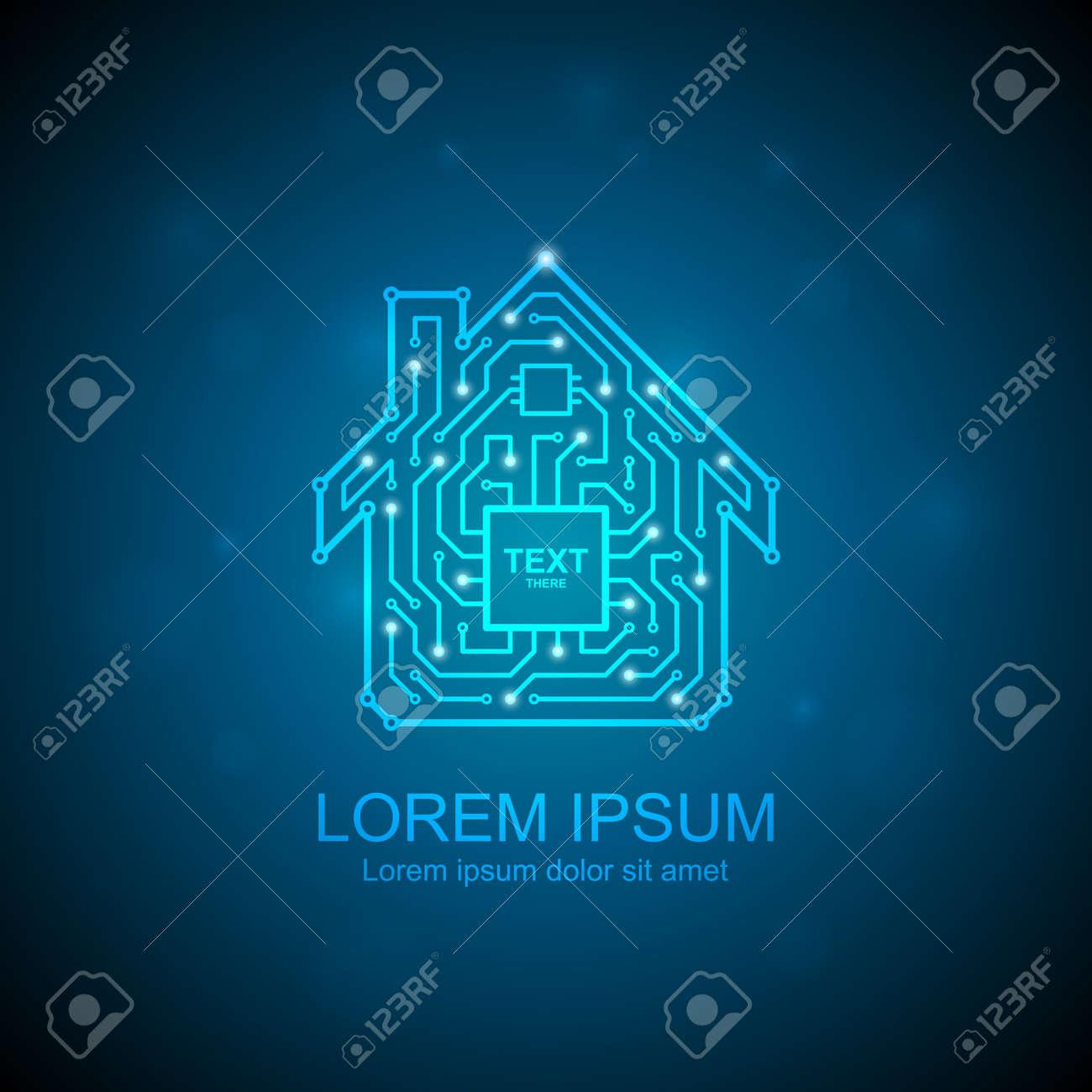 Circuit board maison icône. notion domotique clip art libres de ...