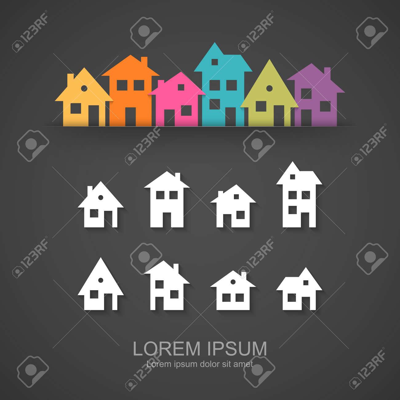 Suburban homes icon set - 45911703