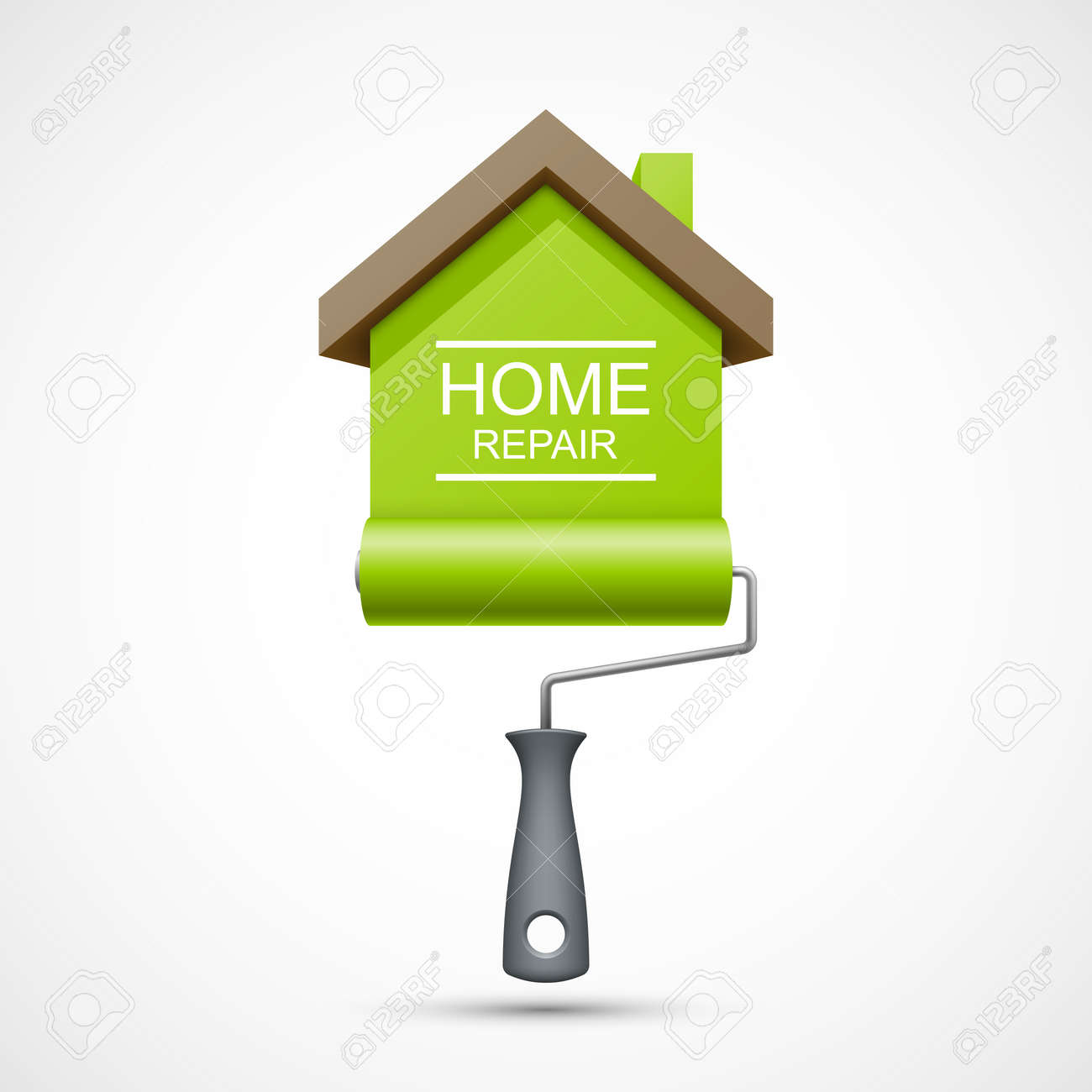 house repair icon paint roller with green house royalty free paint roller with green house stock vector 45911765