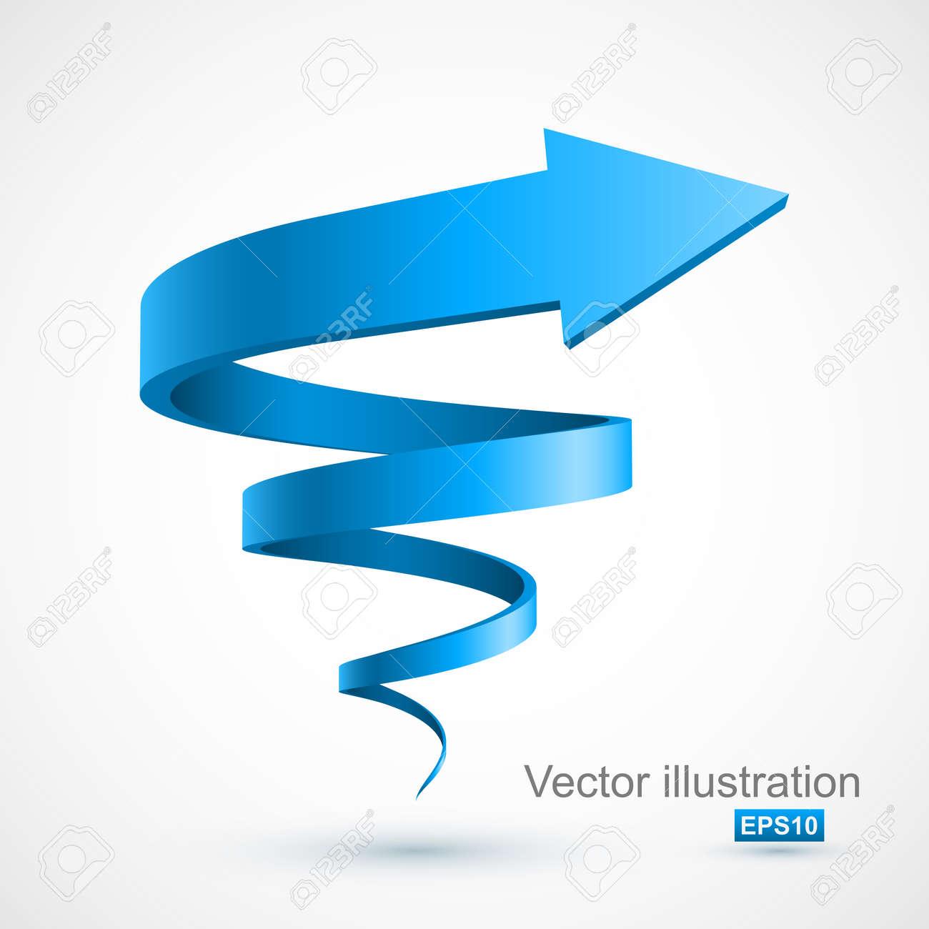 Blue spiral arrow 3D - 50635380