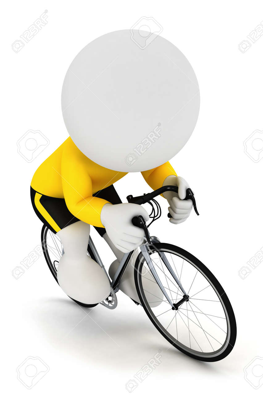 3d white people racing cyclist on a cycle and wearing a yellow jersey db453c42f