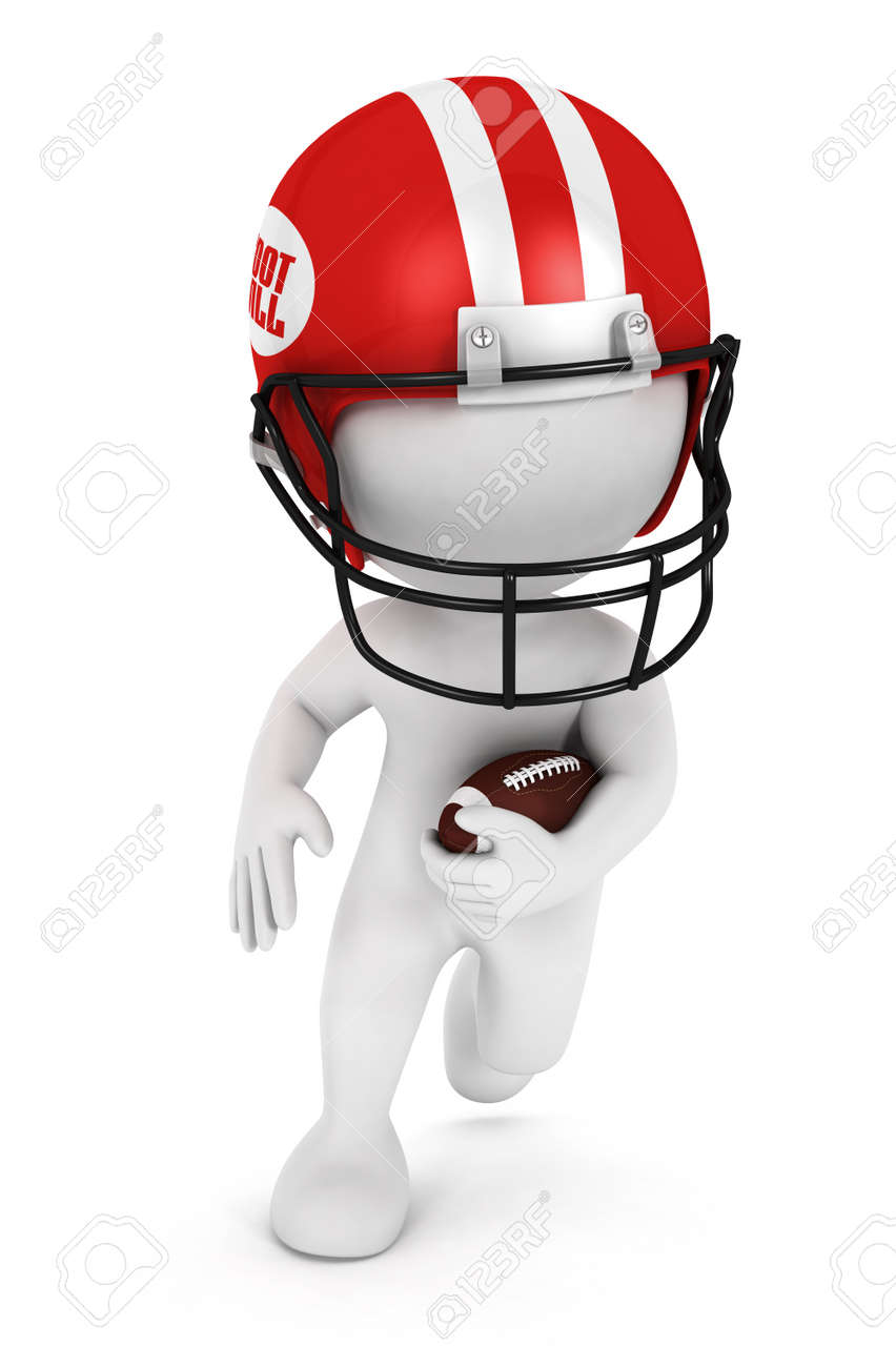 3d white people playing american football with a ball and wearing a red helmet, isolated white background, 3d image Stock Photo - 13640385