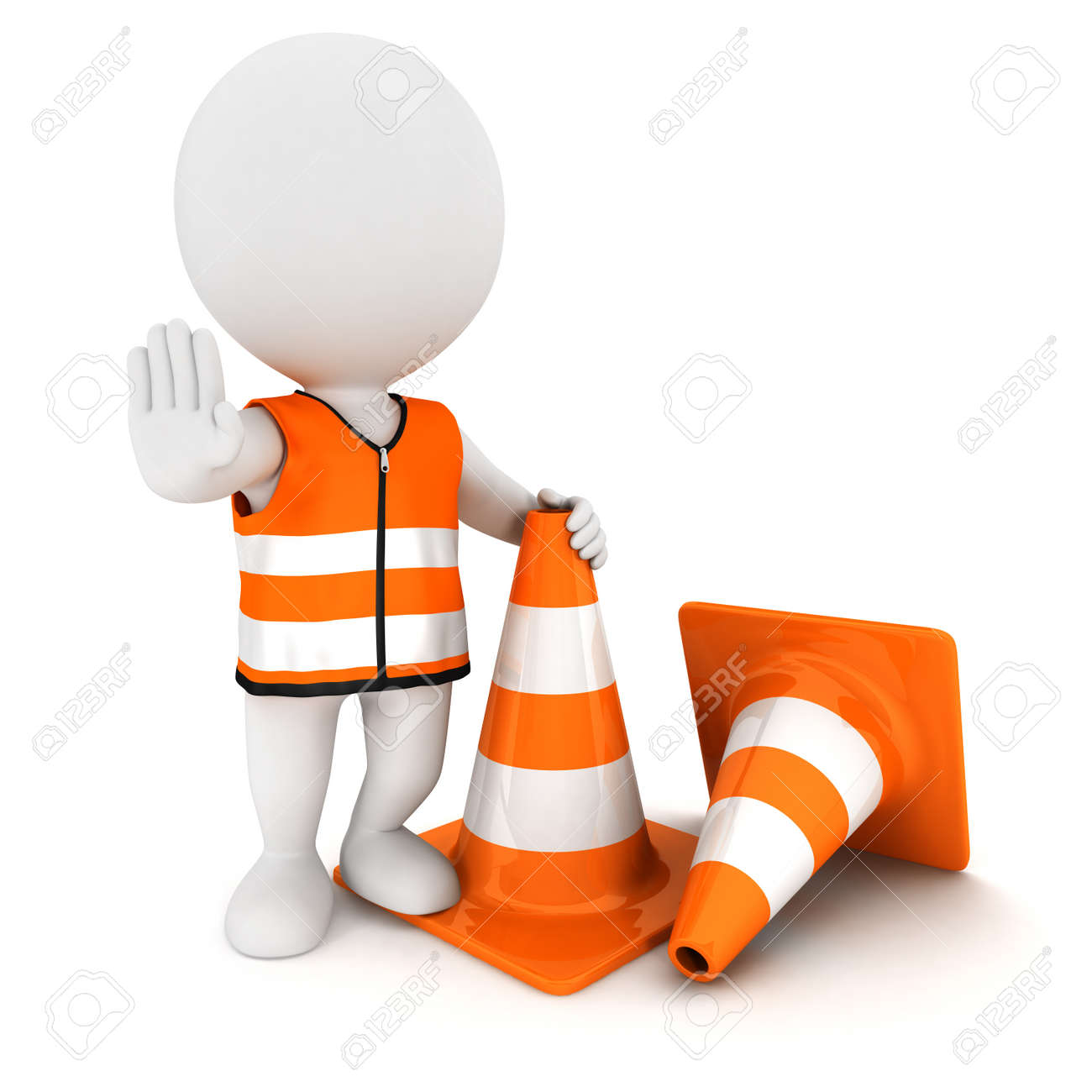 3d white people stop sign with traffic cones and wearing a safety vest, isolated white background, 3d image Stock Photo - 13678377