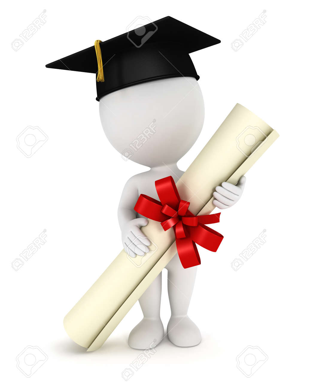 3d white people graduate, with a diploma certificate and a black mortarboard, isolated white background, 3d image Stock Photo - 13923894