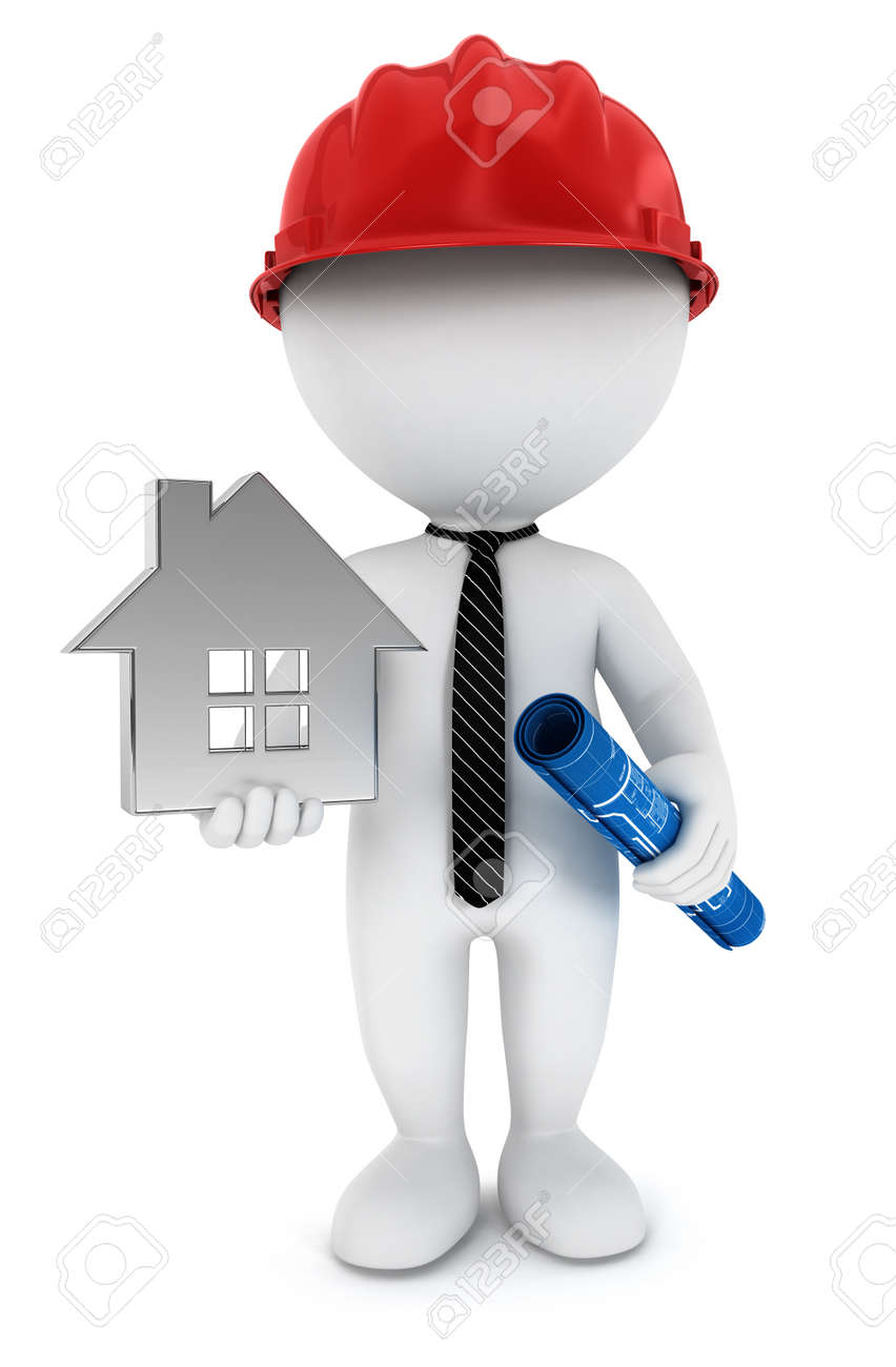 3d white people foreman with blueprint, house and helmet, isolated white background, 3d image Stock Photo - 14491486
