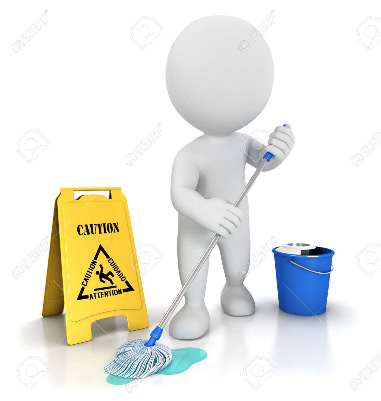 3d white people cleaner with a mop, a bucket and warning sign, isolated white background, 3d image Stock Photo - 14627978
