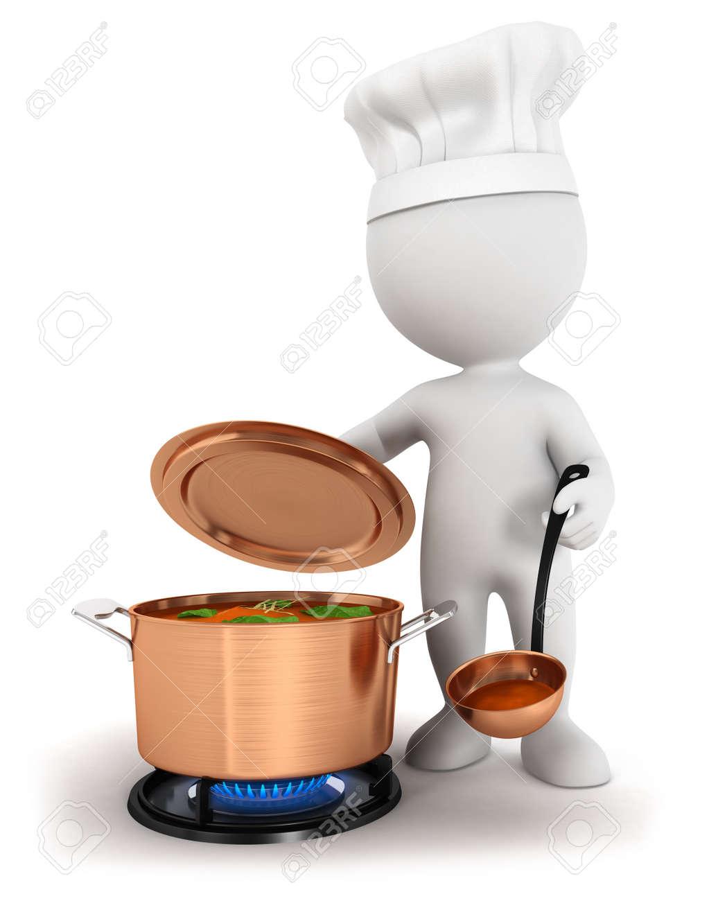 d la gente blanca sopa de cocinar en una cacerola de cobre fondo blanco