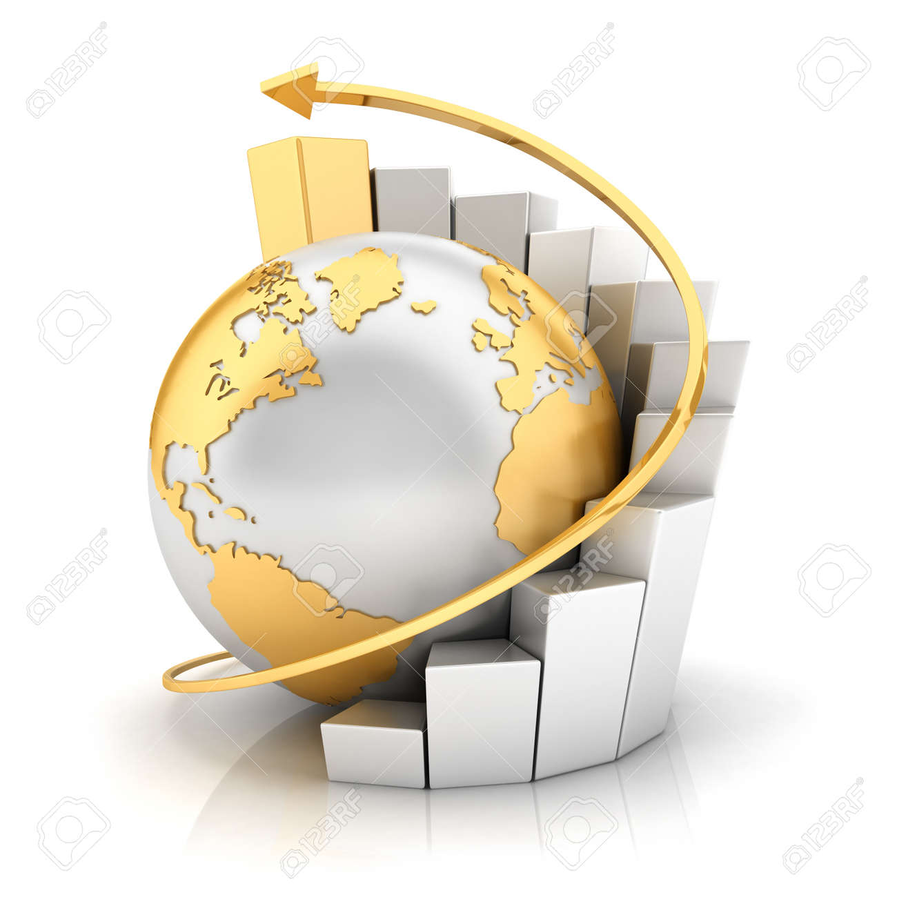 3d business earth with bar chart and gold arrow , isolated white background, 3d image - 14734456