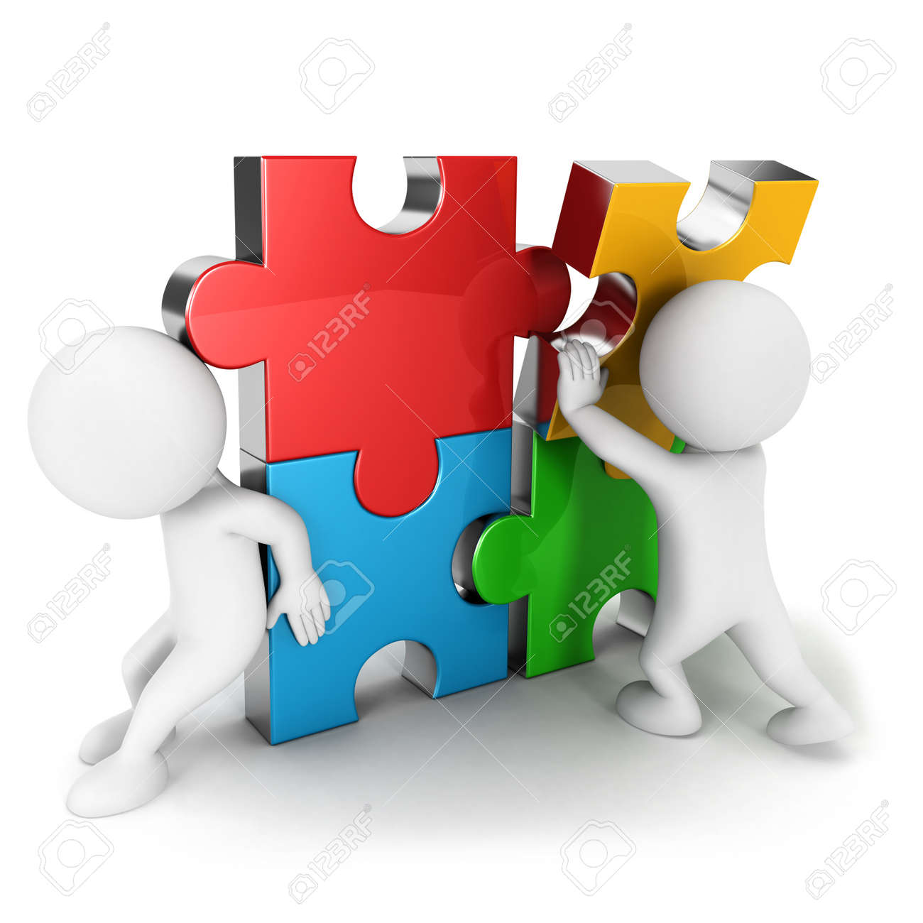 3d White People Work Together Assemble Four Color Puzzle Piece Isolated Background