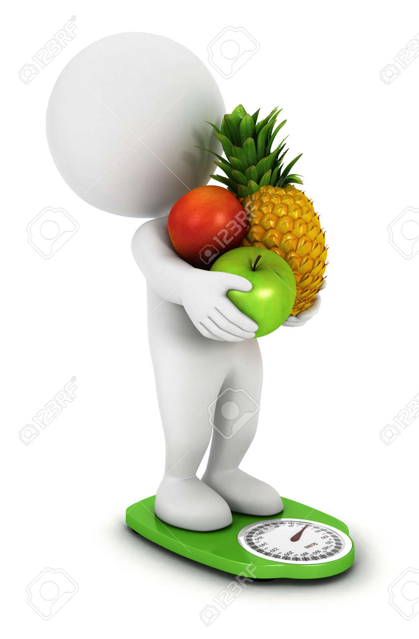 3d white people fruit diet on a green scales, isolated white background, 3d image Stock Photo - 15193928