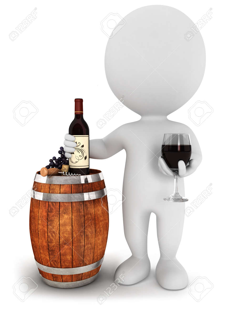 3d white people red wine tasting, isolated white background, 3d image Stock Photo - 14951587