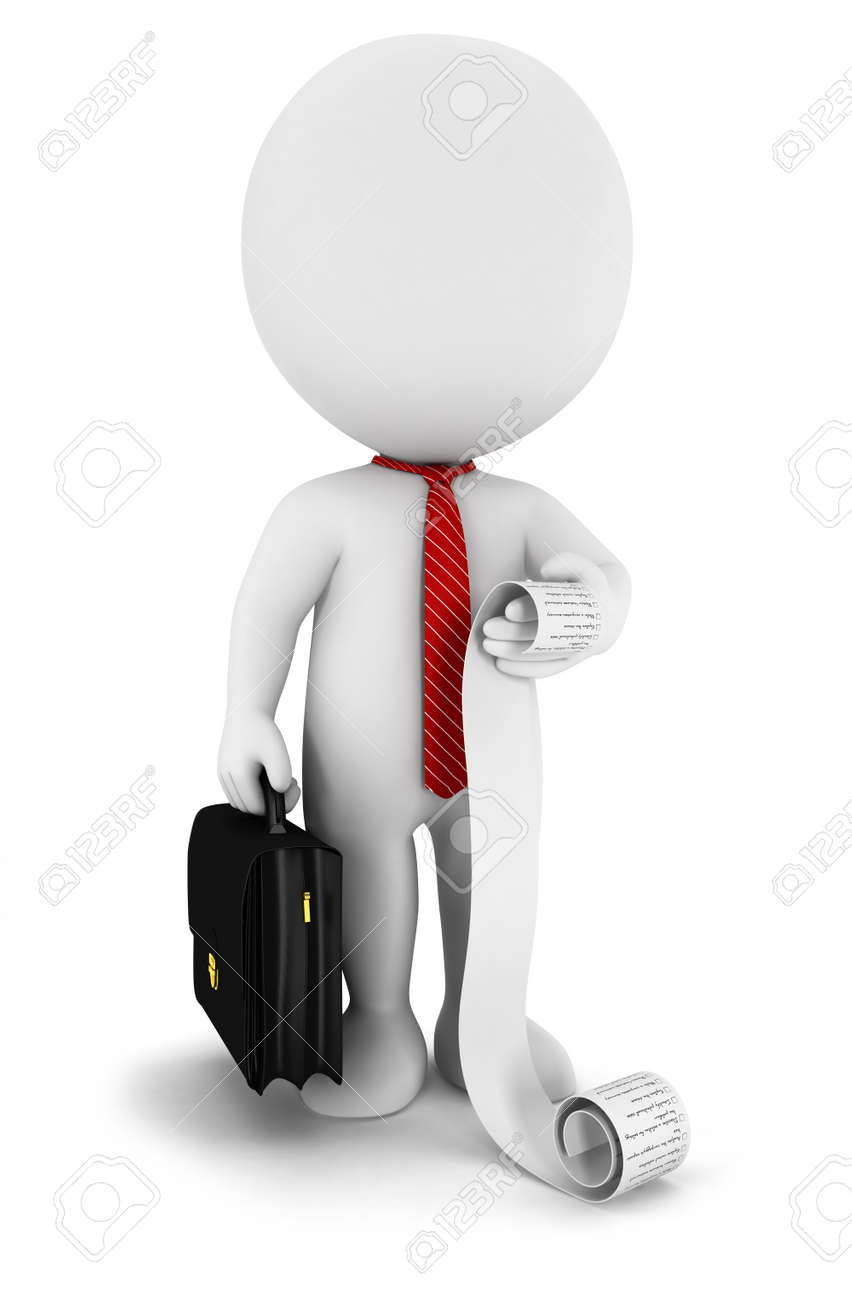 3d white people businessman with a list Stock Photo - 15236477