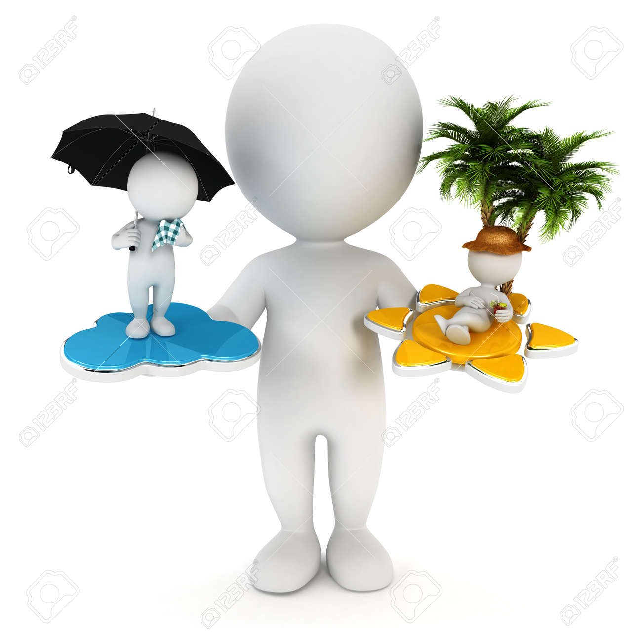 Men holding the word party concept 3d illustration stock photo - White Man 3d White People Sun Or Rain Concept Isolated White Background 3d