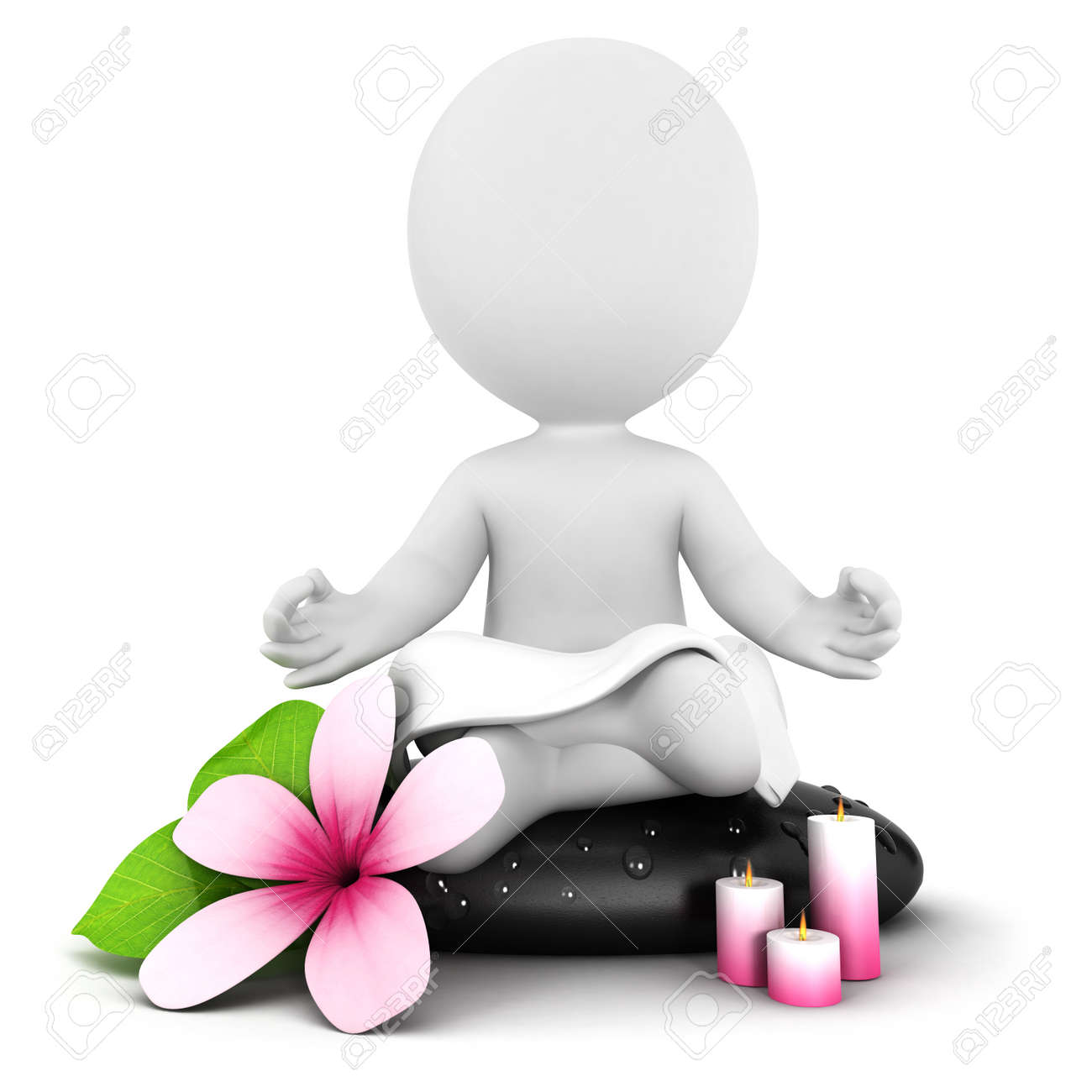 3d white people meditation, isolated white background, 3d image Stock Photo - 15691284