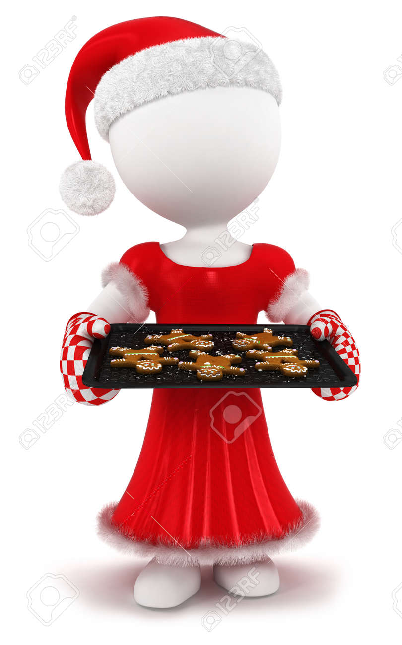 3d white people woman with homemade gingerbread, isolated white background, 3d image Stock Photo - 16034930