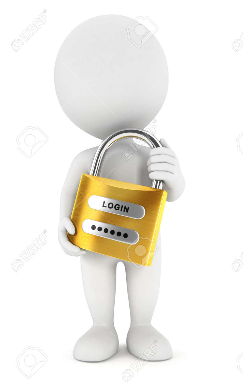 3d white people with a padlock, isolated white background, 3d image Stock Photo - 16482323