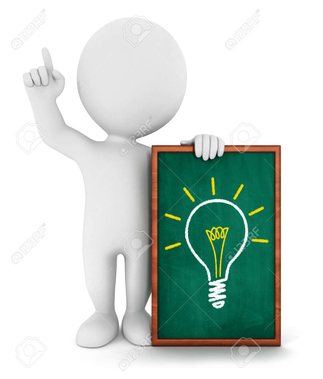 3d white people has an idea, isolated white background, 3d image Stock Photo - 16595406