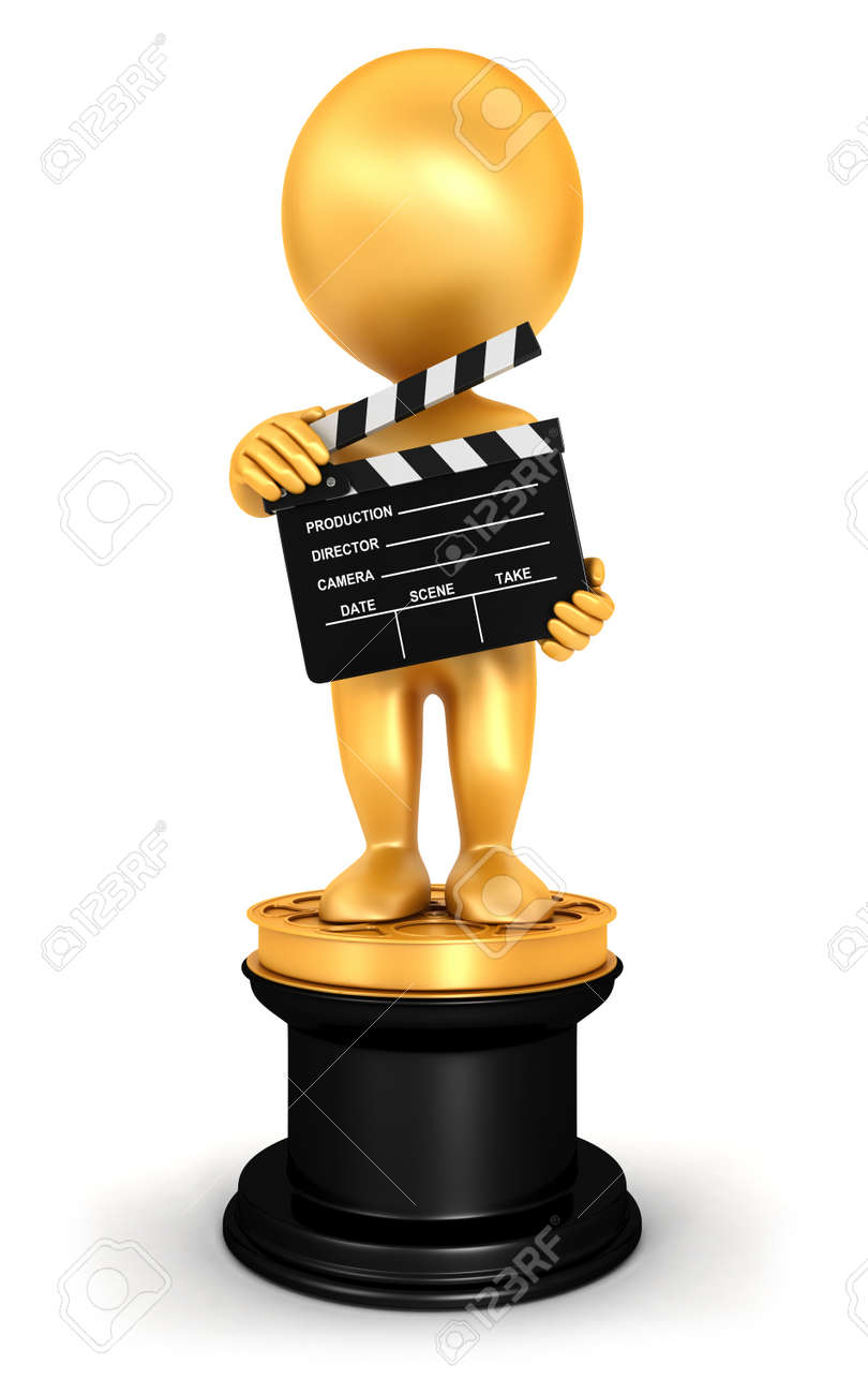 3d White People Golden Oscar Isolated White Background 3d Image